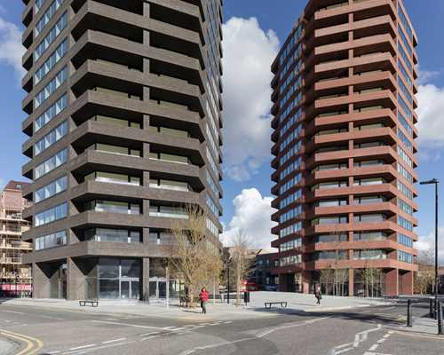 Two impressive hexagonal towers in London with facing bricks Nature10 Brick E and Brick S